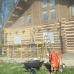 Media Blasting Paint Off the Logs